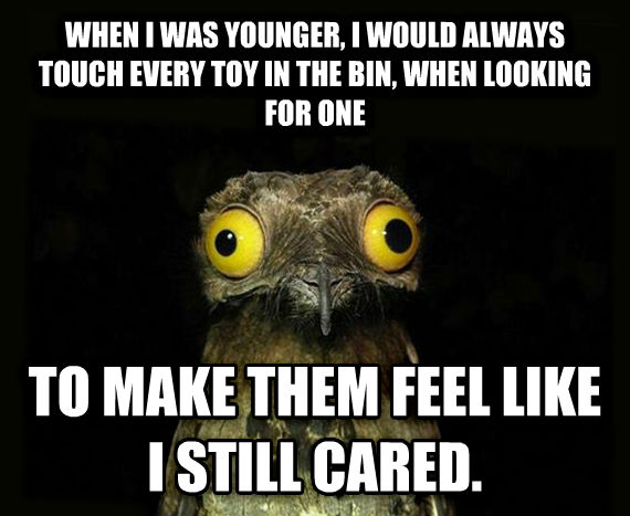 Weird Stuff I Do Potoo when i was younger, i would always touch every toy in the bin, when looking for one to make them feel like i still cared. , made with livememe meme generator