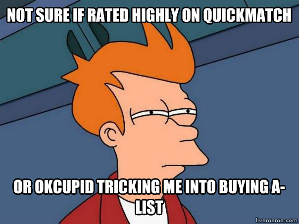 Futurama Fry not sure if rated highly on quickmatch or okcupid tricking me into buying a-list , made with livememe meme creator