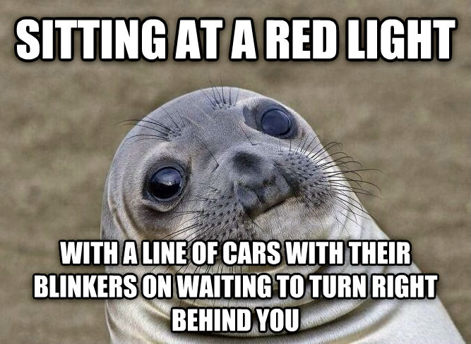 Uncomfortable Situation Seal sitting at a red light with a line of cars with their blinkers on waiting to turn right behind you , made with livememe meme creator