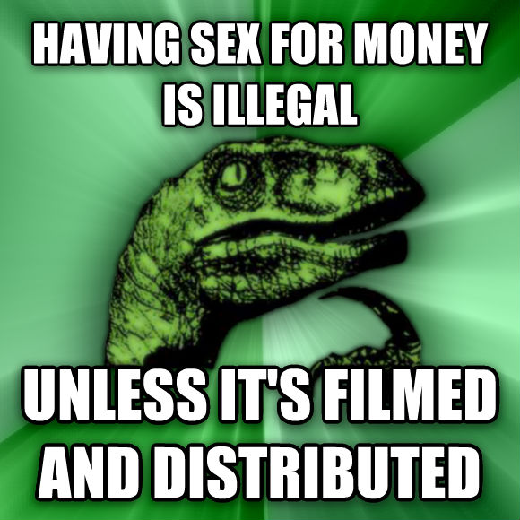 Philosoraptor having fun for money is illegal unless it s filmed and distributed  , made with livememe meme maker