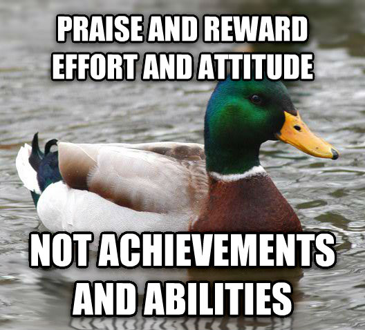 Actual Advice Mallard praise and reward effort and attitude not achievements and abilities , made with livememe meme maker