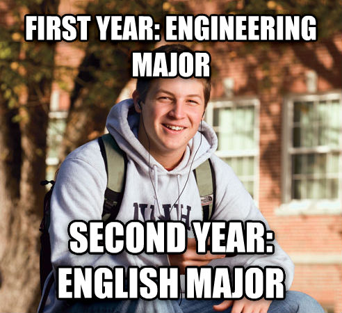 College Freshman first year: engineering major second year: english major , made with livememe meme creator