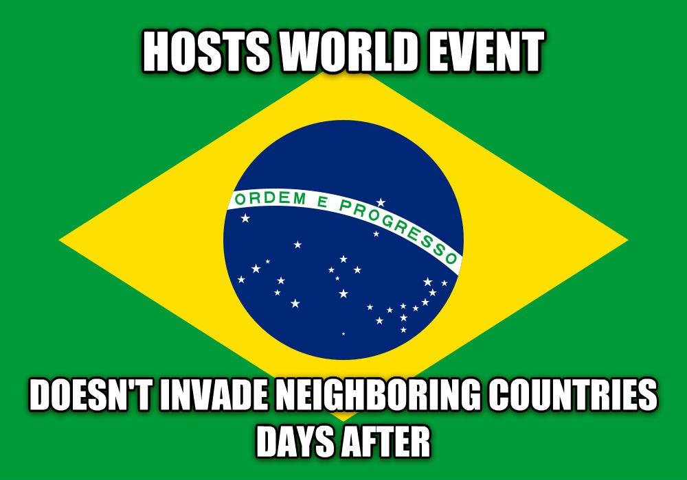 GGG Brazil hosts world event doesn t invade neighboring countries days after , made with livememe meme generator