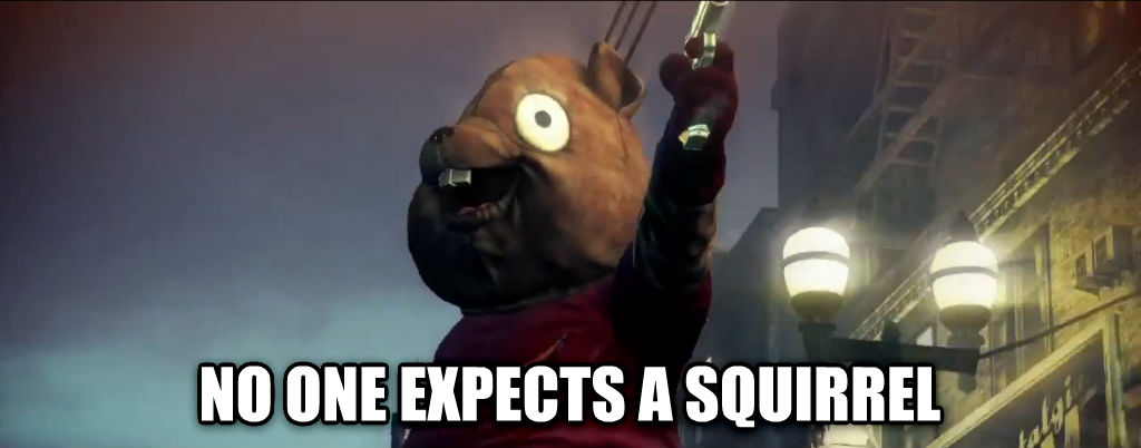 hitman  no one expects a squirrel , made with livememe meme generator