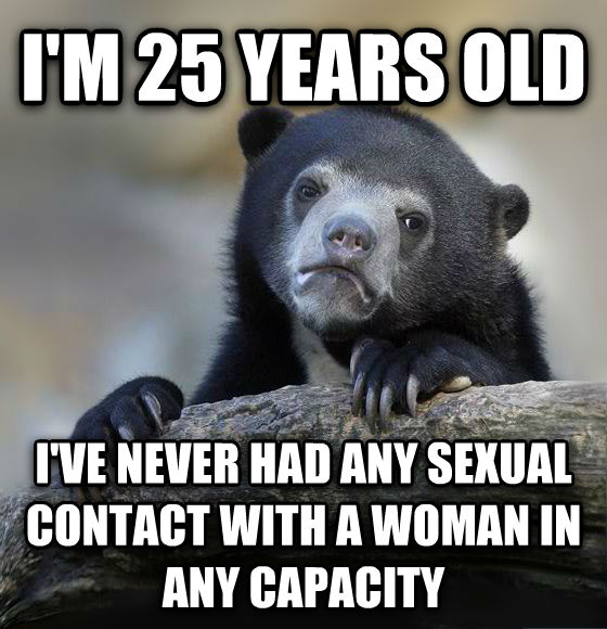 Confession Bear i m 25 years old i ve never had any sensual contact with a woman in any capacity , made with livememe meme creator