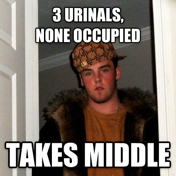 Scumbag Steve 3 urinals,  none occupied takes middle , made with livememe meme maker