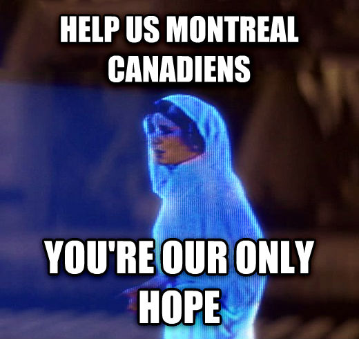 Princess Leia Only Hope help us montreal canadiens you re our only hope , made with livememe meme maker