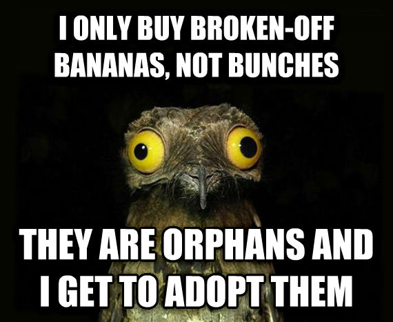 Weird Stuff I Do Potoo i only buy broken-off bananas, not bunches they are orphans and i get to adopt them , made with livememe meme creator