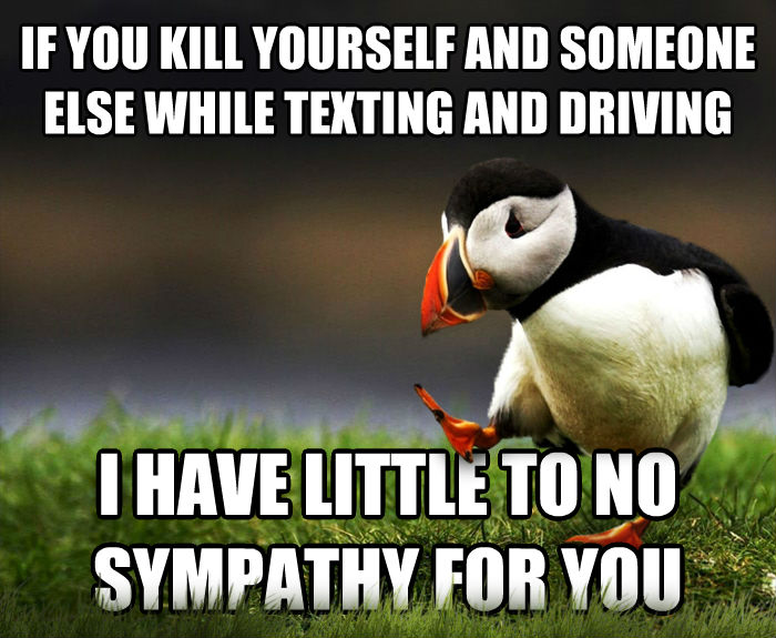 Unpopular Opinion Puffin if you harm yourself and someone else while texting and driving i have little to no sympathy for you , made with livememe meme generator