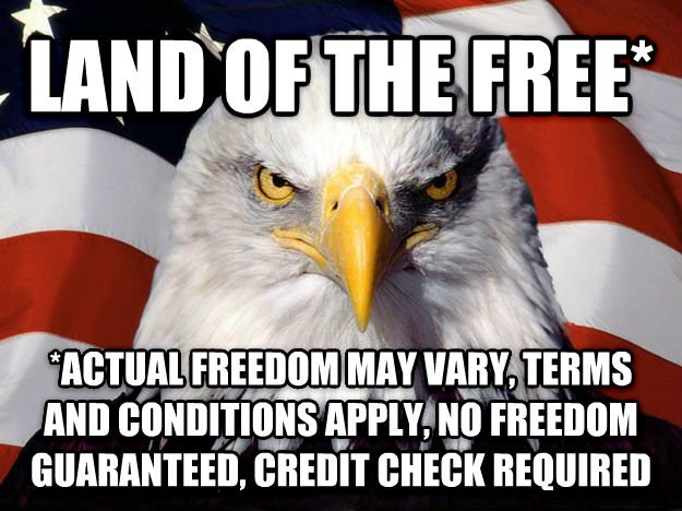 American Eagle land of the free* *actual freedom may vary, terms and conditions apply, no freedom guaranteed, credit check required , made with livememe meme maker