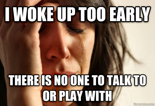 First World Problems i woke up too early there is no one to talk to or play with , made with livememe meme creator