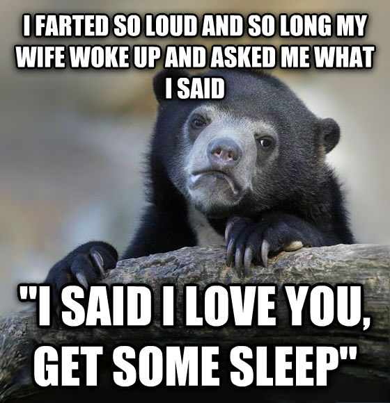 Confession Bear i farted so loud and so long my wife woke up and asked me what i said  i said i love you, get some sleep  , made with livememe meme generator