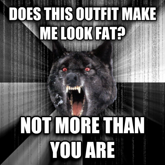 Insanity Wolf does this outfit make me look fat? not more than you are  , made with livememe meme creator