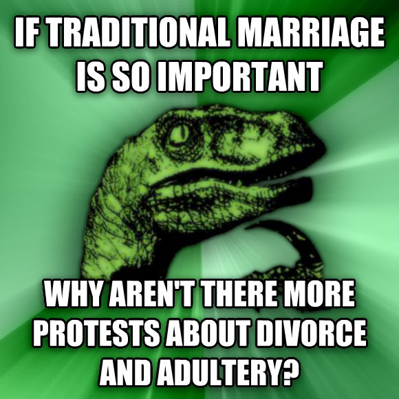 Philosoraptor if traditional marriage is so important why aren t there more protests about divorce and adultery?  , made with livememe meme generator