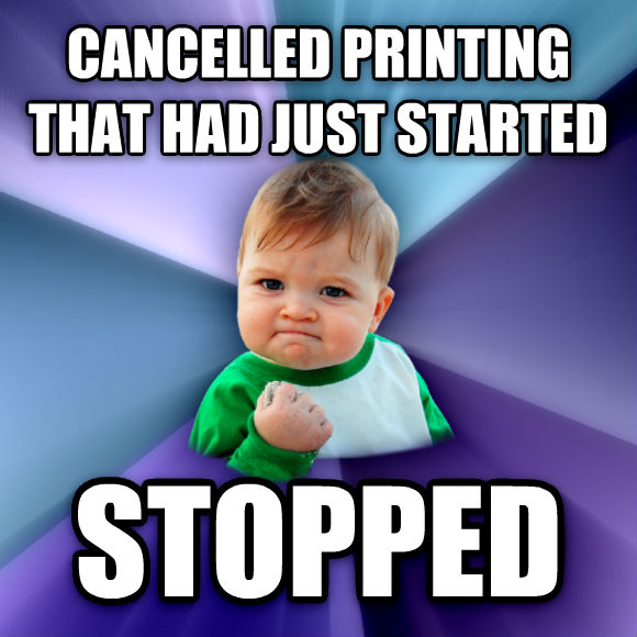 Success Kid cancelled printing that had just started stopped  , made with livememe meme creator
