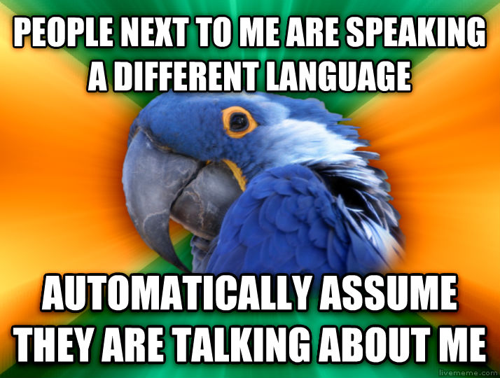 Paranoid Parrot people next to me are speaking a different language automatically assume they are talking about me  , made with livememe meme creator