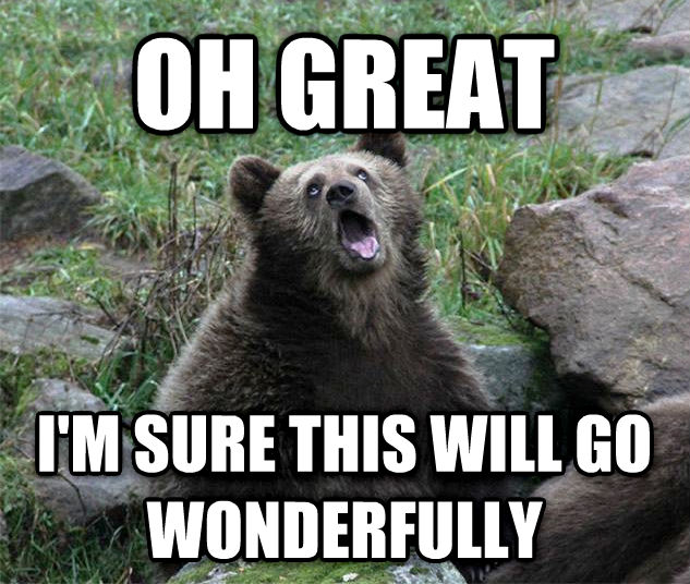 Sarcastic Bear oh great i m sure this will go wonderfully , made with livememe meme creator