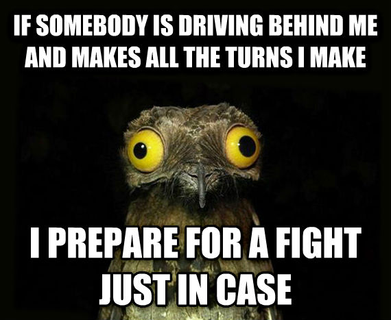 Weird Stuff I Do Potoo if somebody is driving behind me and makes all the turns i make i prepare for a fight just in case , made with livememe meme maker