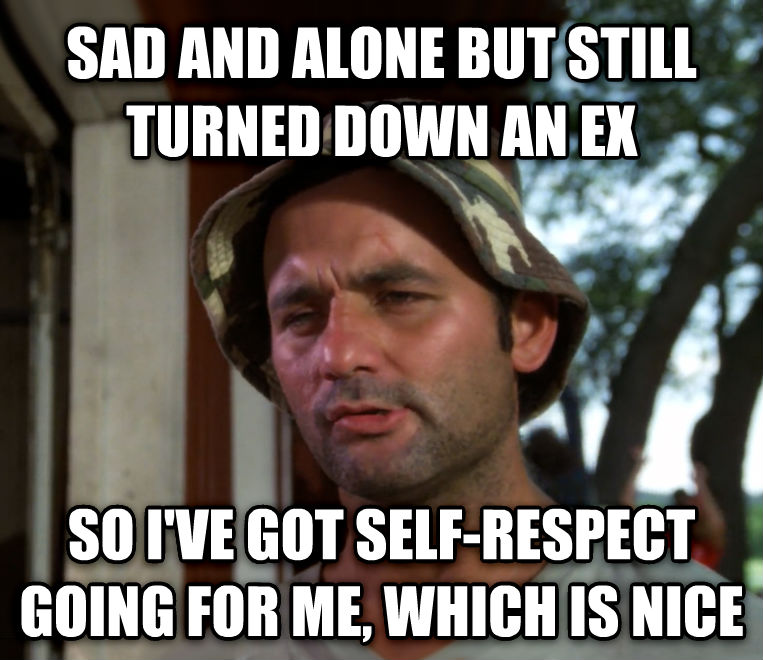 Bill Murray - So I Got That Going For Me, Which is Nice sad and alone but still turned down an ex so i ve got self-respect going for me, which is nice , made with livememe meme creator
