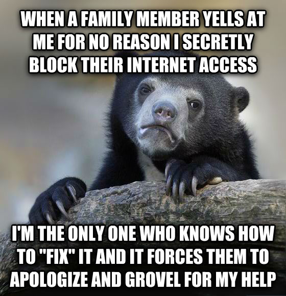 Confession Bear when a family member yells at me for no reason i secretly block their internet access i m the only one who knows how to  fix  it and it forces them to apologize and grovel for my help , made with livememe meme creator