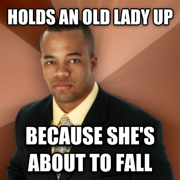 Successful Black Man holds an old lady up because she s about to fall  , made with livememe meme generator