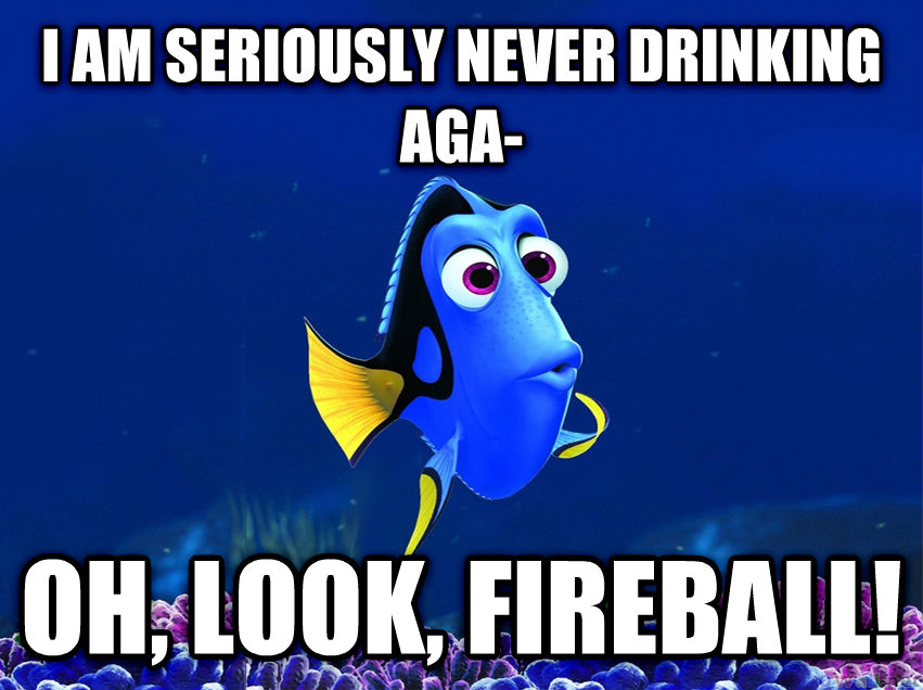 Forgetful Fish Dory i am seriously never drinking aga- oh, look, fireball! , made with livememe meme creator