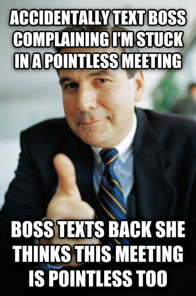 Good Guy Boss accidentally text boss complaining i m stuck in a pointless meeting boss texts back she thinks this meeting is pointless too , made with livememe meme maker