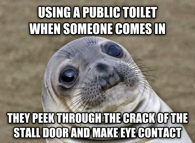 Uncomfortable Situation Seal using a public toilet when someone comes in they peek through the crack of the stall door and make eye contact , made with livememe meme creator