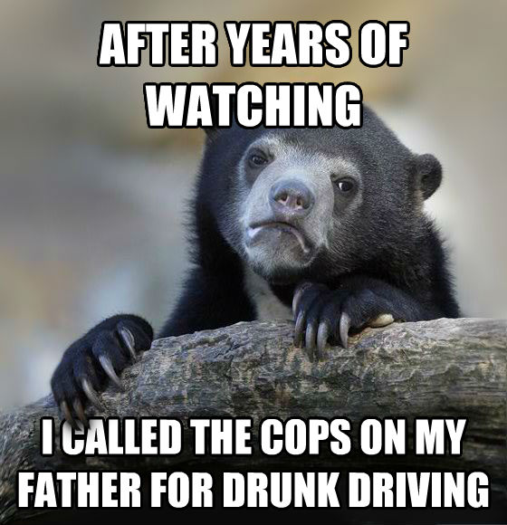 Confession Bear after years of watching i called the cops on my father for drunk driving , made with livememe meme maker