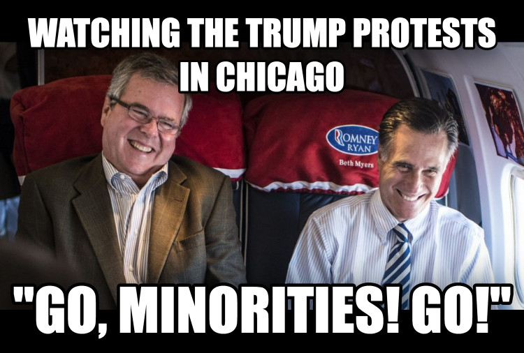 untitled meme watching the trump protests in chicago  go, minorities! go!  , made with livememe meme creator