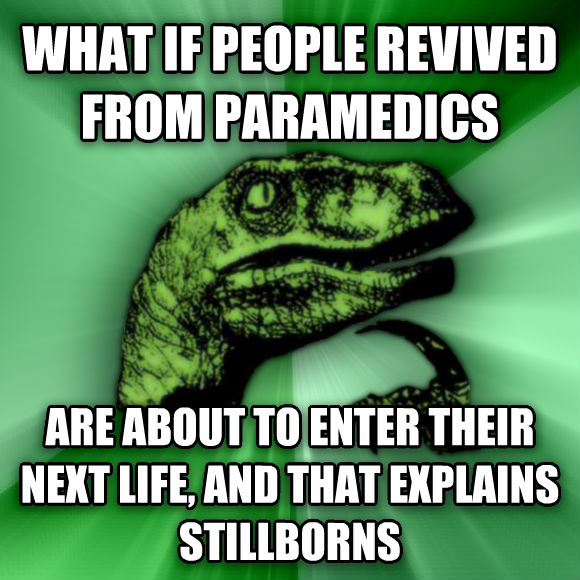 Philosoraptor what if people revived from paramedics are about to enter their next life, and that explains stillborns  , made with livememe meme creator