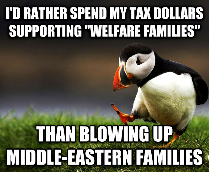 Unpopular Opinion Puffin i d rather spend my tax dollars supporting  welfare families  than fanning up middle-eastern families , made with livememe meme creator