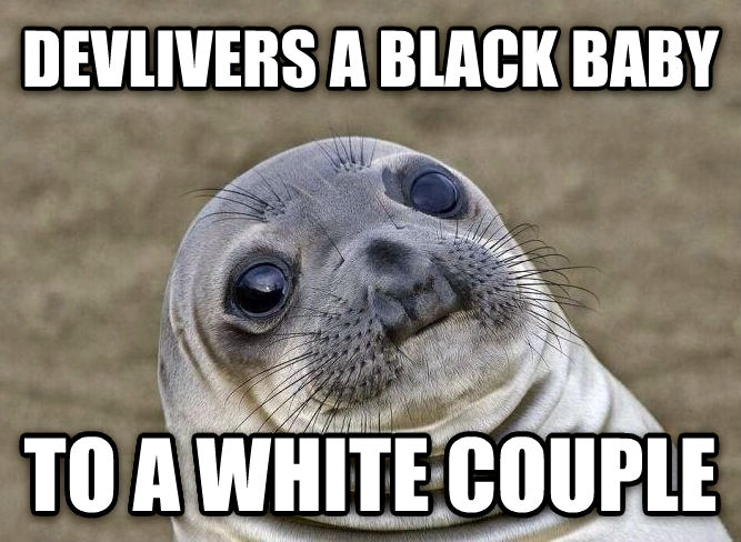 Uncomfortable Situation Seal devlivers a black baby to a white couple , made with livememe meme maker