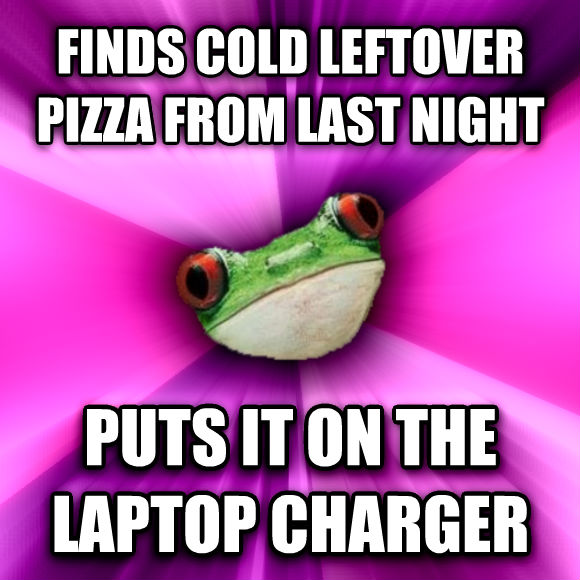 Foul Bachelorette Frog finds cold leftover pizza from last night puts it on the laptop charger  , made with livememe meme generator