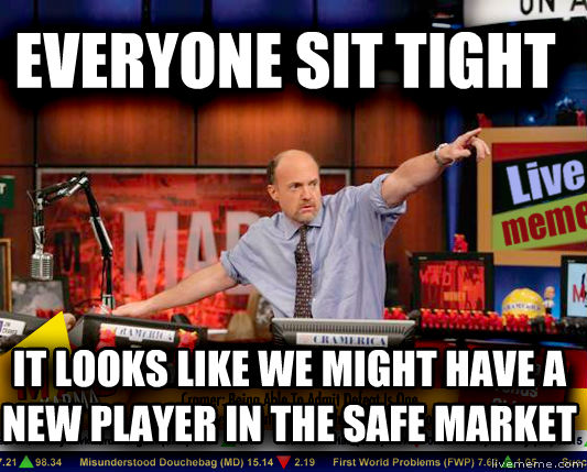 Mad Karma with Jim Cramer everyone sit tight it looks like we might have a new player in the safe market , made with livememe meme creator