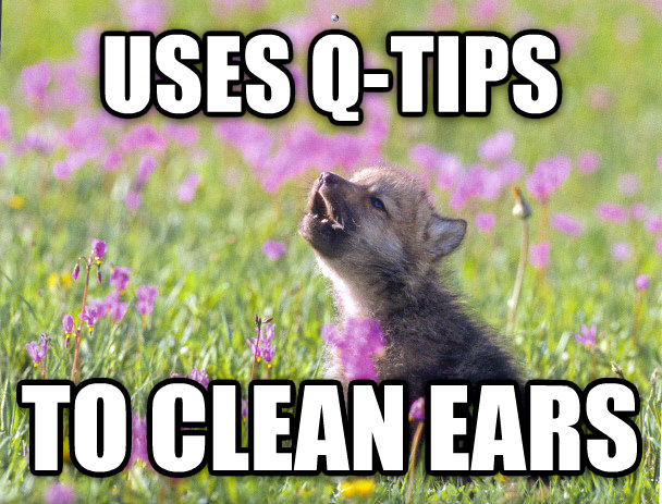 Baby Insanity Wolf uses q-tips to clean ears , made with livememe meme creator