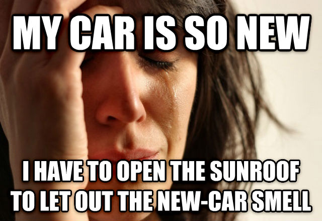 First World Problems my car is so new i have to open the sunroof to let out the new-car smell , made with livememe meme generator