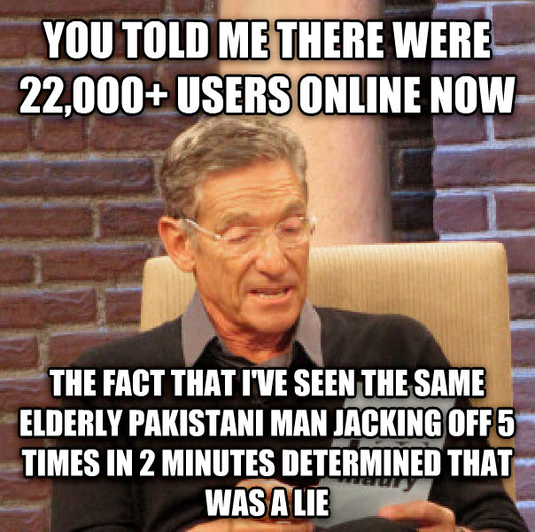Maury Determined That Was a Lie you told me there were 22,000+ users online now the fact that i ve seen the same elderly pakistani man rocking out 5 times in 2 minutes determined that was a lie , made with livememe meme generator