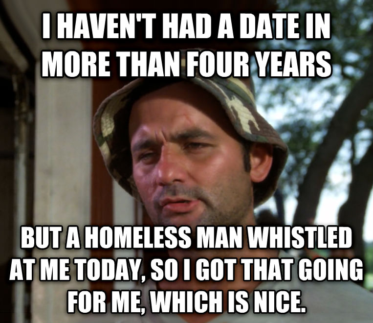 Bill Murray - So I Got That Going For Me, Which is Nice i haven t had a date in more than four years but a homeless man whistled at me today, so i got that going for me, which is nice. , made with livememe meme generator