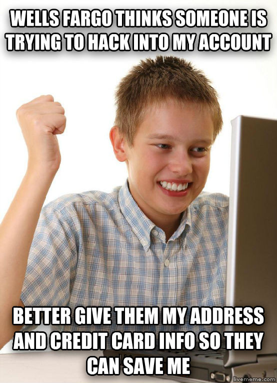 First Day on the Internet Kid wells fargo thinks someone is trying to hack into my account better give them my address and credit card info so they can save me , made with livememe meme generator