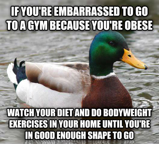 Actual Advice Mallard if you re embarrassed to go to a gym because you re obese watch your diet and do bodyweight exercises in your home until you re in good enough shape to go , made with livememe meme creator