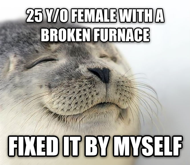 Seal of Approval 25 y/o female with a broken furnace fixed it by myself , made with livememe meme generator