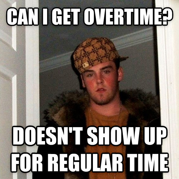 Scumbag Steve can i get overtime? doesn t show up for regular time , made with livememe meme creator