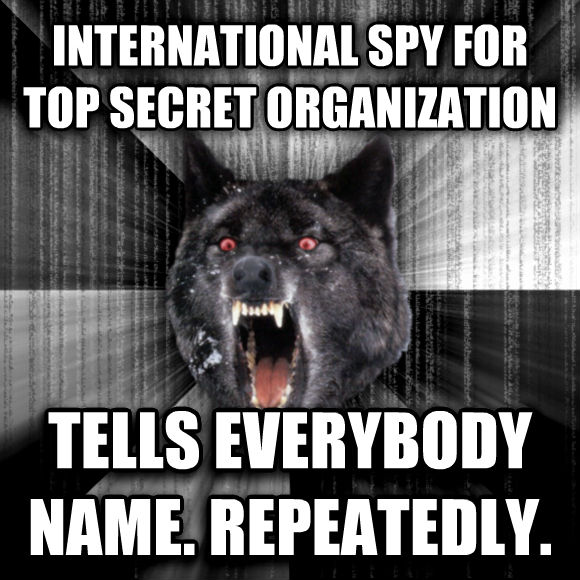 Insanity Wolf international spy for top secret organization tells everybody name. repeatedly.  , made with livememe meme generator