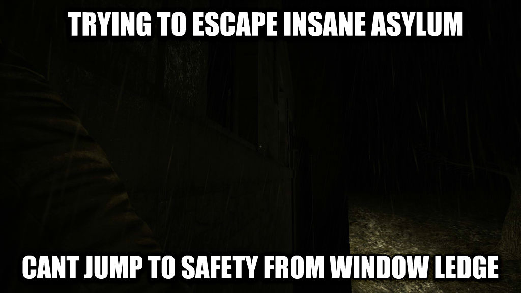 untitled meme trying to escape insane asylum cant jump to safety from window ledge , made with livememe meme creator
