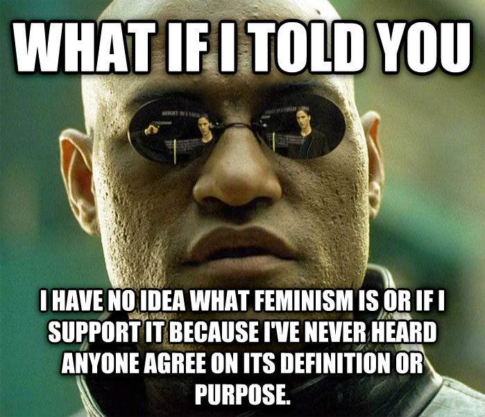 Matrix Morpheus what if i told you i have no idea what feminism is or if i support it because i ve never heard anyone agree on its definition or purpose. , made with livememe meme generator