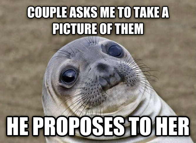 Uncomfortable Situation Seal couple asks me to take a picture of them he proposes to her , made with livememe meme maker