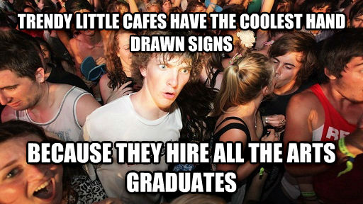 Sudden Clarity Clarence trendy little cafes have the coolest hand drawn signs because they hire all the arts graduates , made with livememe meme generator