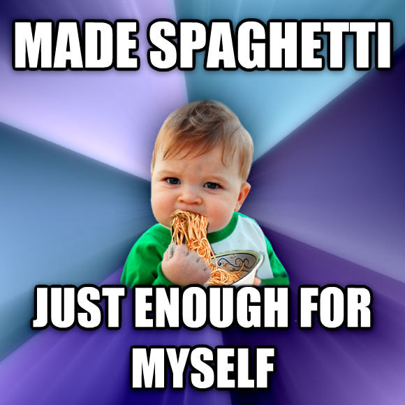 Success Kid made spaghetti just enough for myself  , made with livememe meme generator