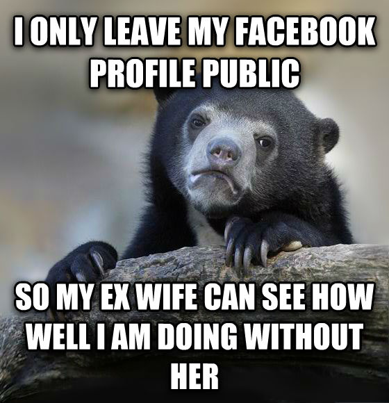 Confession Bear i only leave my facebook profile public so my ex wife can see how well i am doing without her , made with livememe meme generator